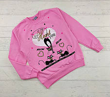 Кофти для дівчаток розові із котиком на вік 5,6,7,8 років