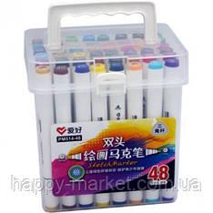 Набор двухсторонних фломастеров 48 цветов для рисования AH-PM514-48 (круглый+скошеный) треугольные