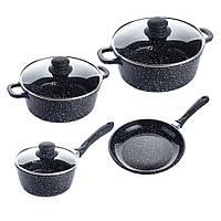 Набір каструль А-Плюс 7 предметів, мармурове покриття (3 кришки+2 каструлі +1 ківш + 1 сковорода) 1503