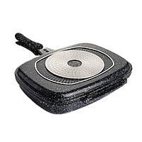 Сковорідка для гриля 32см подвійна з тефлоновим покриттям А-ПЛЮС 1499