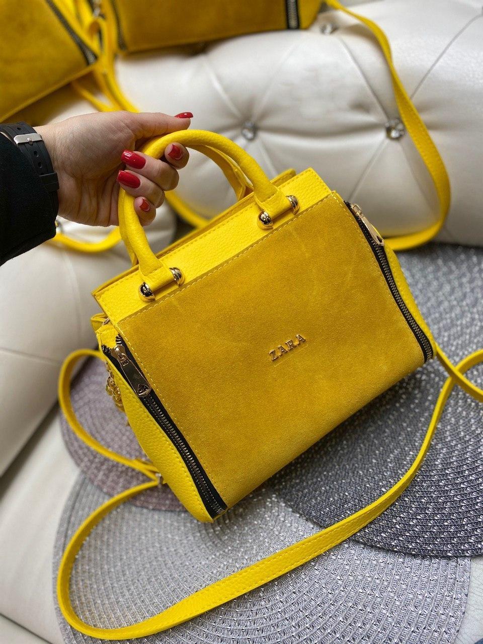 Замшевая женская сумка желтая средняя сумочка классическая небольшая натуральная замша+кожзам