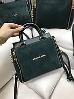 Зеленая замшевая женская сумка средняя сумочка классическая деловая небольшая натуральная замша+кожзам, фото 1
