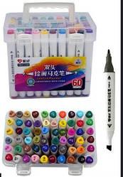 Набір двосторонніх фломастерів 60 кольорів для малювання AH-PM514-60 (круглий + скошений.) трикутні
