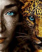 Картина по номерам Девушка и леопард 40*50 см Rainbow Art GX28049