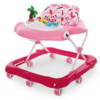 Ходунки детские на колесиках с музыкальной панелью + свет, зеркало EL CAMINO SHARK ME 1052 Pink, розовый