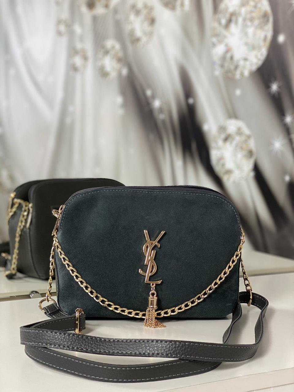 Сумочка замшевая женская через плечо кросс-боди сумка клатч на цепочке серая натуральная замша+кожзам