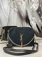 Сумочка замшевая женская через плечо кросс-боди сумка клатч на цепочке серая натуральная замша+кожзам, фото 1