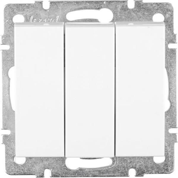 Выключатель трехклавишный  Lezard Rain без подсветки 10 А 220 В белый 703-0288-109
