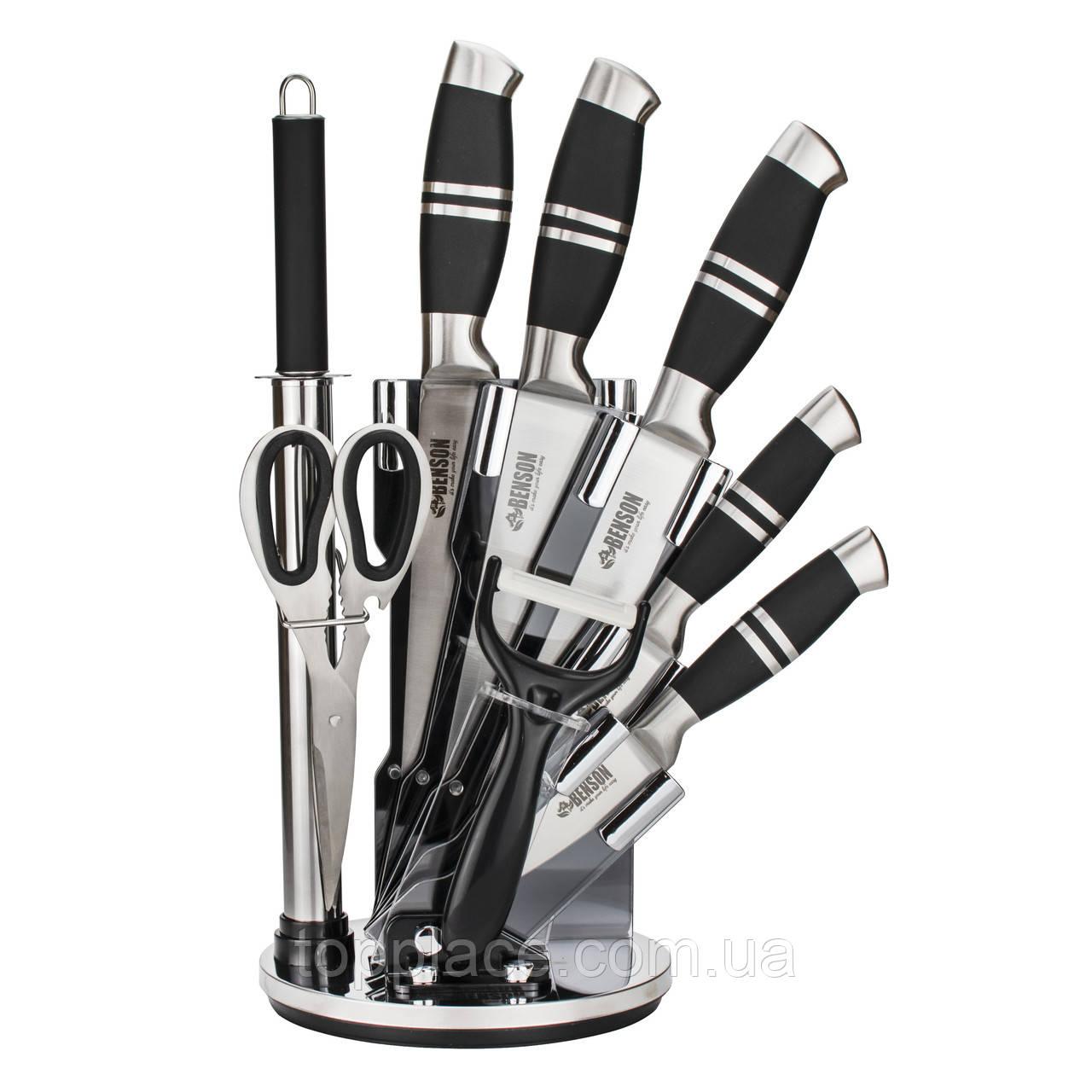 Набор кухонных ножей с подставкой Benson BN-402, 9 предметов
