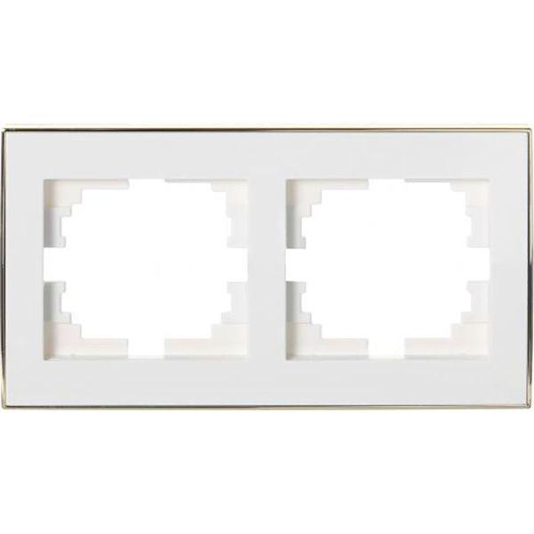 Рамка двухместная Lezard Rain горизонтальная белый с золотой вставкой 703-0226-147