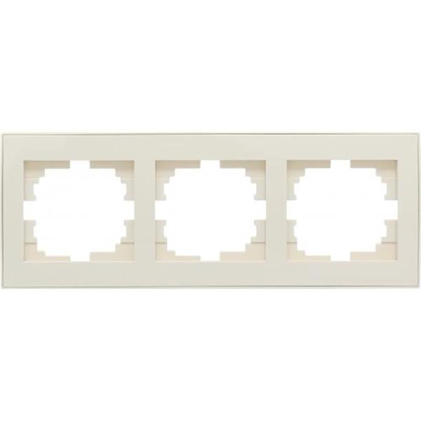 Рамка трехместная Lezard Rain с боковой вставкой горизонтальная кремовый 703-0303-148