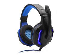 Наушники игровые KOMC G311 с микрофоном и подсветкой USB+2xMini-Jack 3.5 mm Black-Blue (2_009537)
