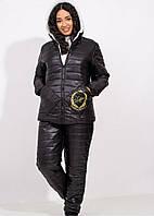 Теплый костюм женский зимний р. 50-52, 54-56 овчина+синтепон удлиненная куртка и штаны на полных дам черный