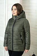 Куртка женская демисезонная больших размеров MODA 00059 (50-64) XL- 8XL Хаки