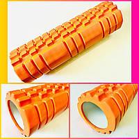 Ролер масажний циліндричний помаранчевий (Grid Roller) для йоги, пілатесу 45*14 см, фото 1