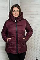 Куртка женская демисезонная больших размеров MODA 00059 (50-64) XL- 8XL Бордовый