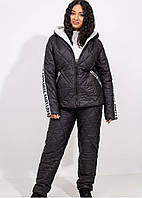 Удобный лыжный костюм штаны и куртка стеганые на синтепоне и овчине на полных женщин черный, р. 50-52, 54-56