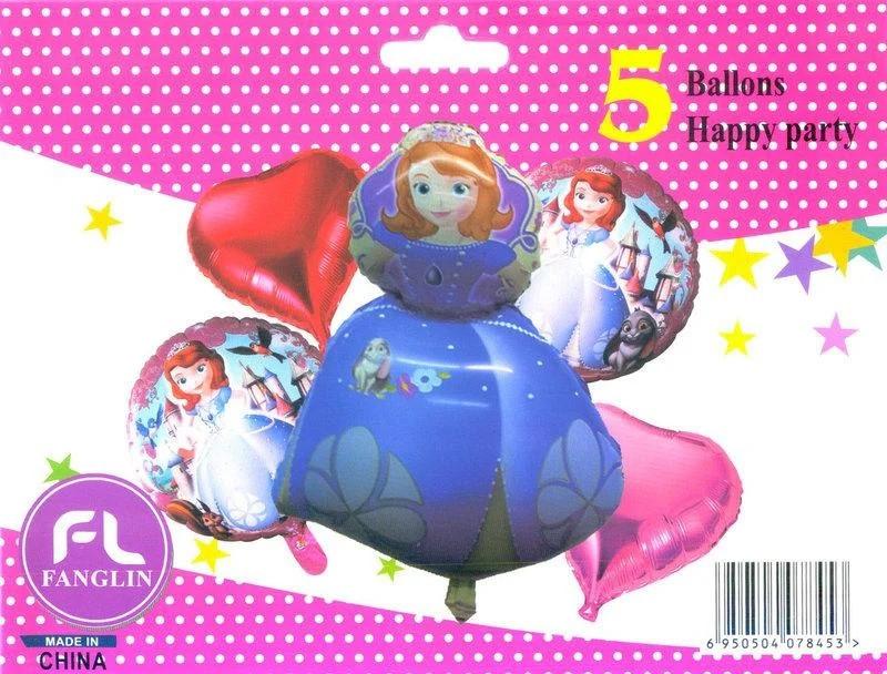 Набор фольгированных шаров Принцесса София, 5 шт