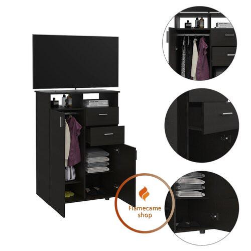 Комод под телевизор высокий со штангой для одежды внутри из ДСП. Код: K-15078