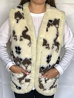 Жилетка из овчины, жилетка з овечої шерсті, безрукавка з овечої шерсті, розмір 38-58, фото 1