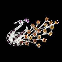 """Серебряная Брошь """"Жар-птица"""" с натуральными желтыми Сапфирами, Гранатами родолитами и Рубином"""