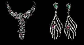 Срібний Набір з натуральними Смарагдами, Рубінами, Сапфірами і Марказитом - Кольє і Сережки