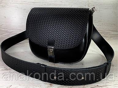 171-р Сумка женская из натуральной кожи черная сумочка кросс-боди черная кожаная сумка женская через плечо
