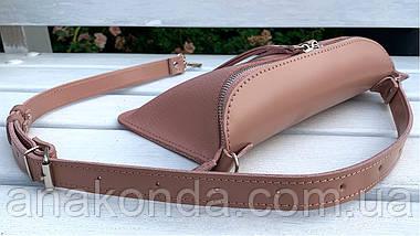 462-3 Натуральная кожа Сумка на пояс женская кожаная пудра Сумка бананка женская розовая из натуральной кожи, фото 3