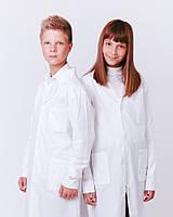 Халат білий Garment Factory на кнопках для уроків хімії - Лаборант, бавовна 100%, колір білий   Халат на химию 46