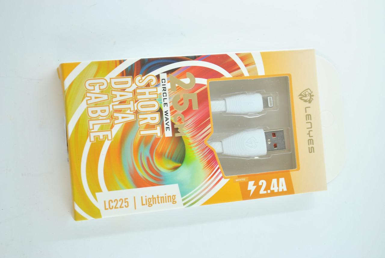 Кабель Usb-cable iPhone Lenyes LC225 2.4A 0.25m (круглый) White