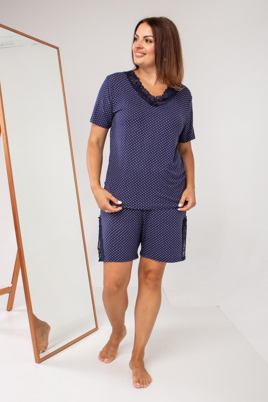 Батальный женский  комплект с шортами в горошек  Nicoletta 39010