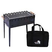 Раскладной мангал чемодан на 8 шампуров из стали с сумкой и решеткой из черного металла