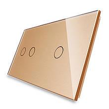 Сенсорная панель выключателя Livolo 3 канала (2-1) золото стекло (VL-C7-C2/C1-13)