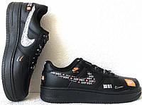Wow! Nike Air Force 1 07 JDI кроссовки женские кожаные черные Just do it большие размеры, фото 1