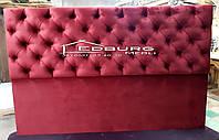 М'які спинки ліжка на замовлення з гудзиками з велюру, фото 1