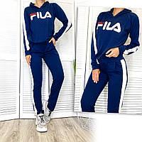 0327-4 темно-синий Demax женский спортивный костюм с капюшоном из двунитки (36,38,40, евро, 3 ед.), фото 1