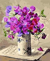 Алмазная картина-раскраска Букет в белой вазе, 40x50 см, Brushme (Брашми)