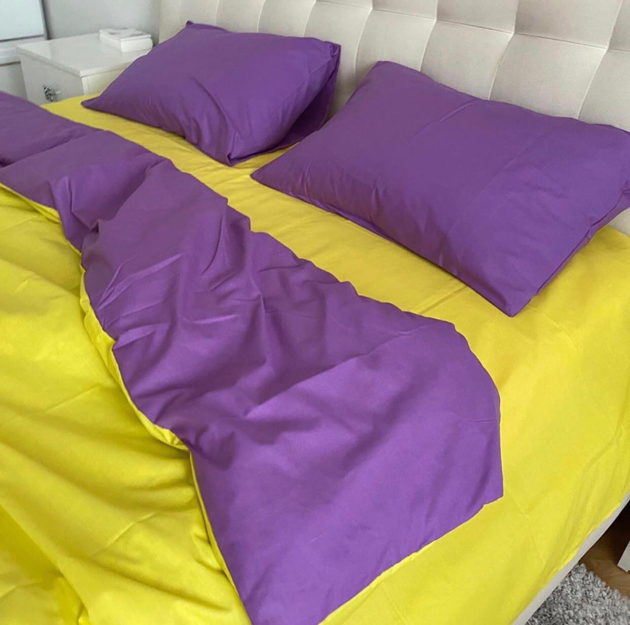 Комплект постельного белья  Бязь GOLD 100% хлопок Фиолетово- желтый