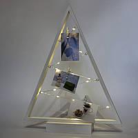 Светодиодная декорация, коллаж с прищепками - деревянный треугольник для 3 фото, 38,5 см, 2 АА, белый (141271)
