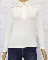 Блузка школьная с длинным рукавом  для девочки, трикотаж, на пуговицах, Carrino Girls (размер 116)