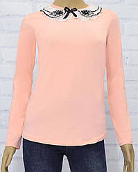 Блузка школьная  с длинным рукавом для девочки, трикотажная, Barmy  (размер 128)