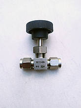 Кран нержавеющий игольчатый 6 мм, обжимной AISI 304