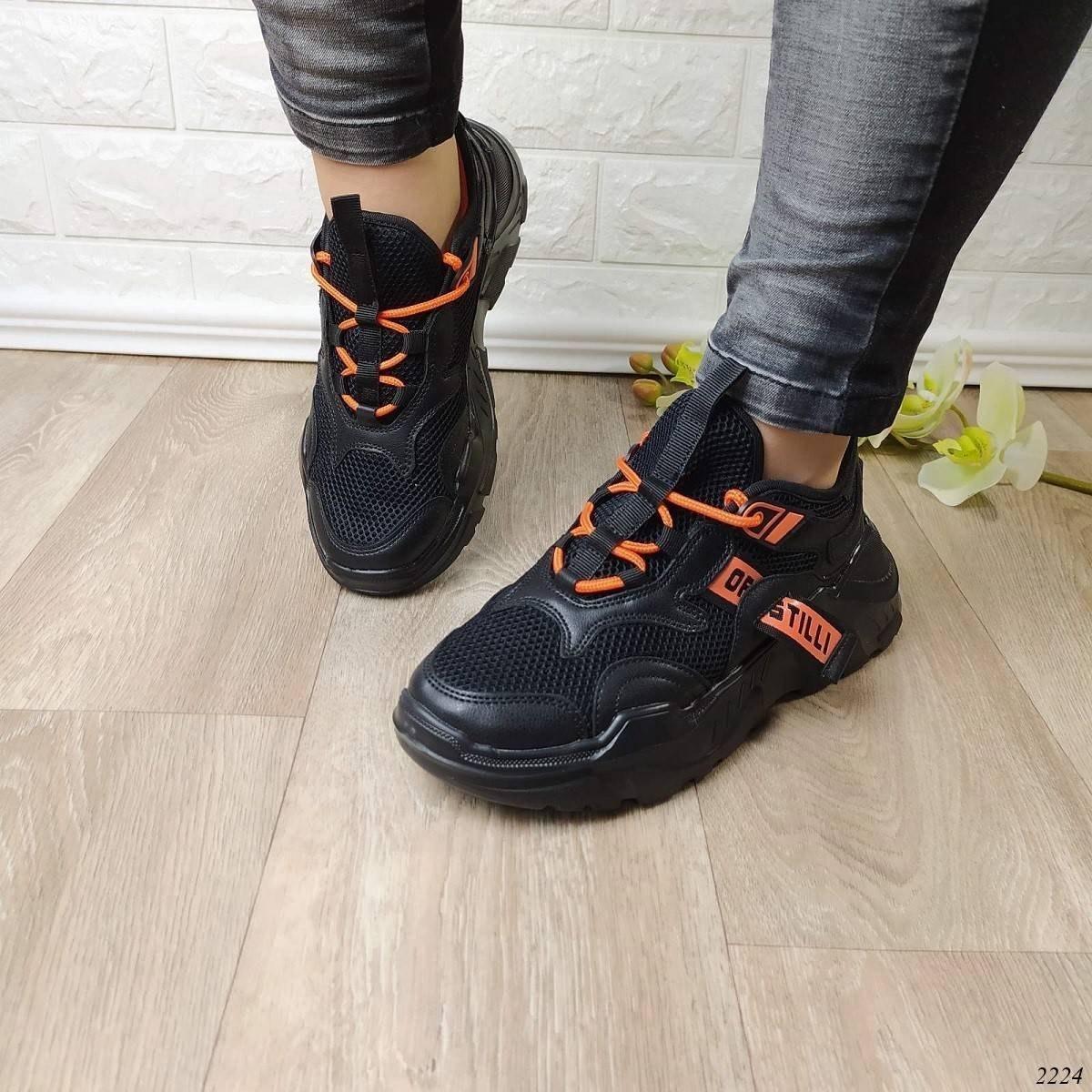 Кросівки жіночі Колір: чорний+оранжевий Код: 2224