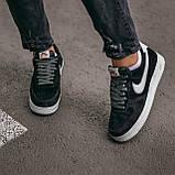 🔥 Кроссовки мужские спортивные повседневные Nike Air Force Luxury Suede (найк аир форс лакшери черные), фото 6