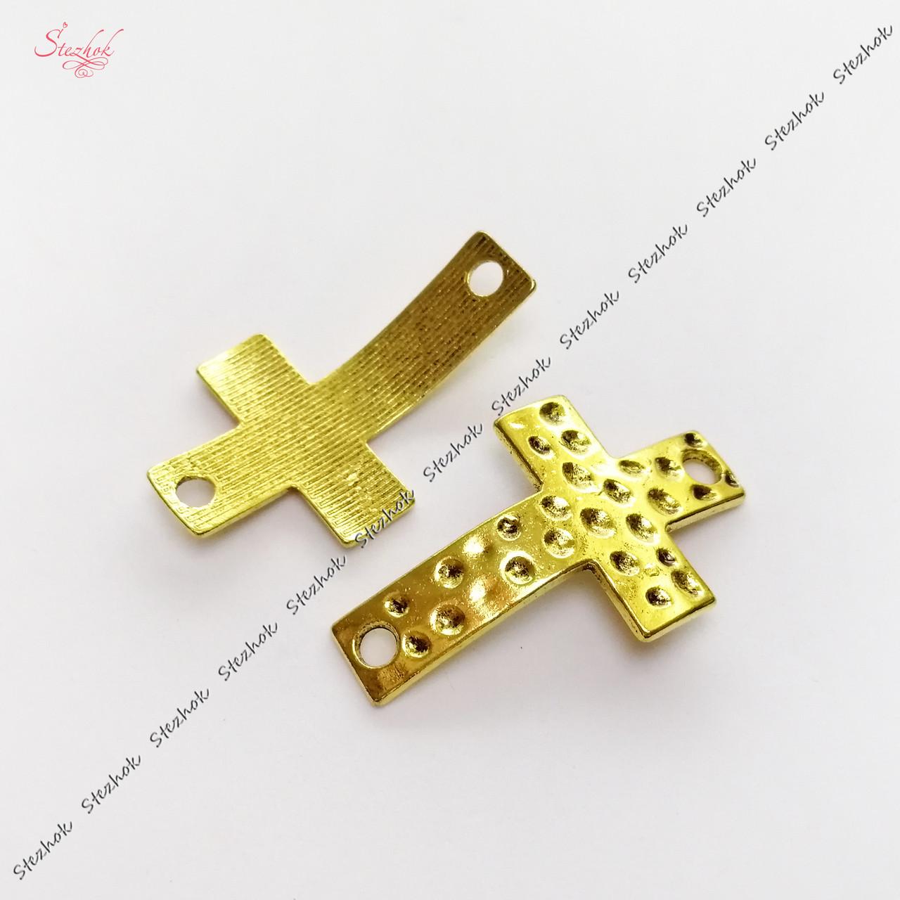 Металлический коннектор крест 36х22 мм античное золото для рукоделия