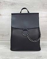 Молодіжний жіночий рюкзак 46504 чорна сумка-трансформер через плече, фото 1