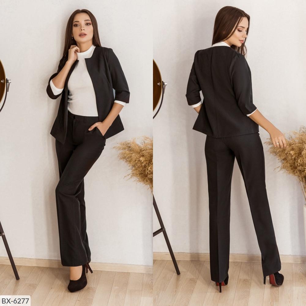 Стильный женский костюм из костюмной ткани средней плотности, №106, чёрный, 42-46р.