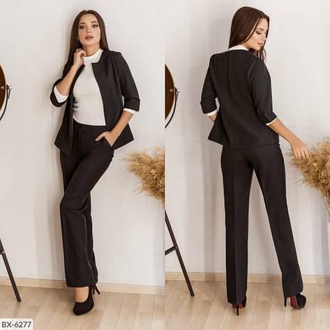 Стильный женский костюм из костюмной ткани средней плотности, №106, чёрный, 42-46р., фото 2