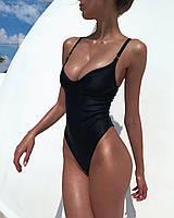Слитный купальник бикини с высокой талией черный