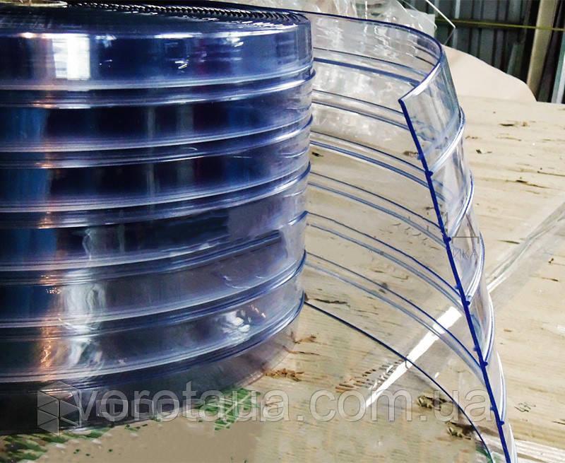 Пленочные полосовые ПВХ завесы прозрачная ребристая 3х300